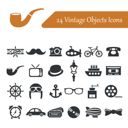 vintage objects: vintage objects icons Illustration