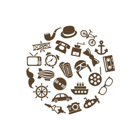 vintage objects: vintage objects icons in circle Illustration