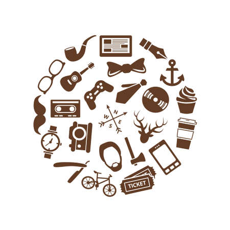 playstation: hipster icons in circle