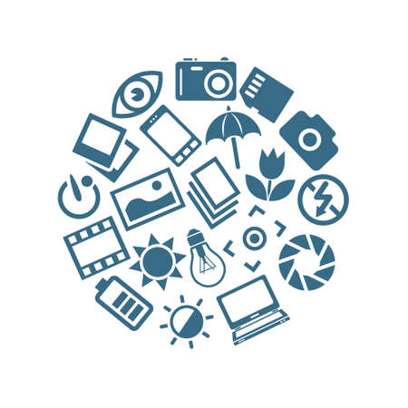 photography icons in circle