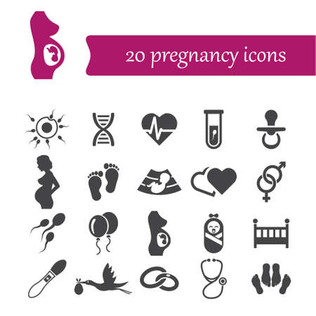 test tube babies: pregnancy icons Illustration