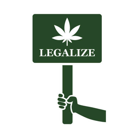 legalize: legalize marijuana on placard icon