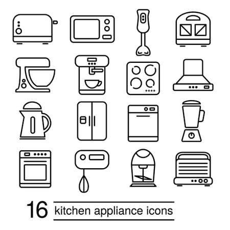 food processor: vector kitchen appliance icons Illustration