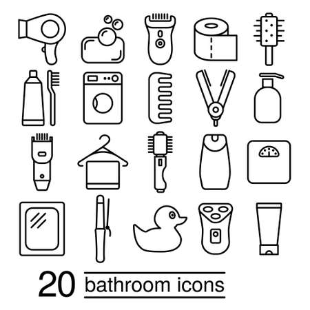 toothbrush: twenty bathroom icons collection