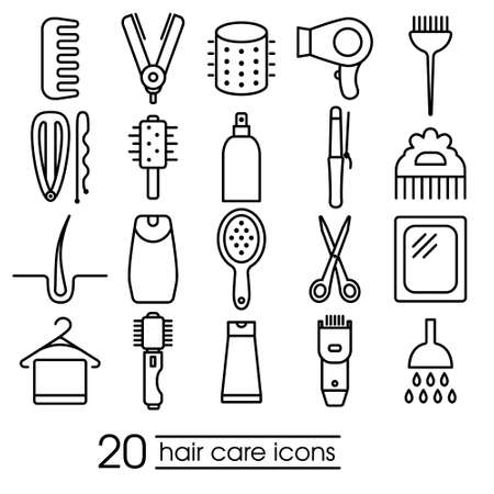 care: hair care icons collection