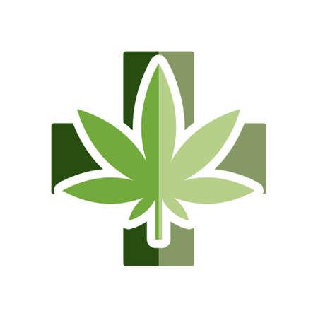 icono de la marihuana medicinal plana