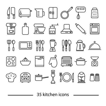 icônes de la ligne de cuisine trente-cinq