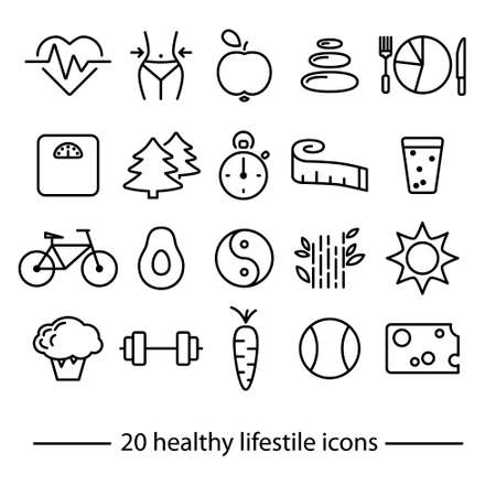 healthy lifestile line icons