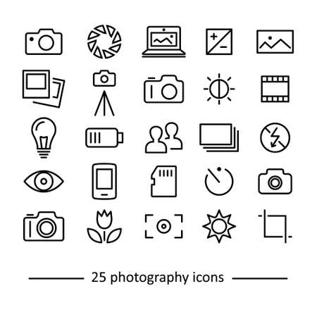 thin bulb: twenty five photography icons collection Illustration