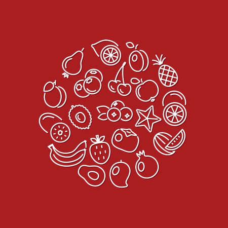 persimmon: iconos de líneas de fruta en círculo Vectores