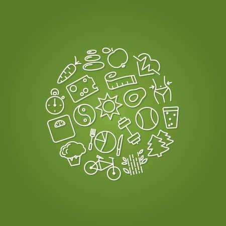 lifestile: healthy lifestile line icons in circle Illustration