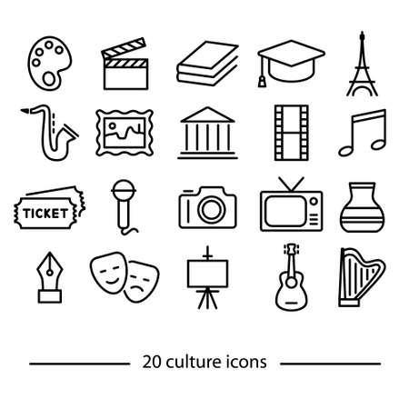 Vingt icônes de la ligne de culture Banque d'images - 52459767