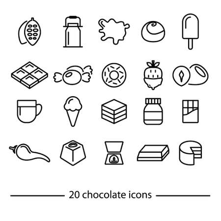 chocolate cake: twenty chocolate line icons