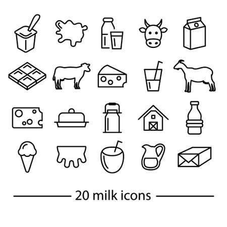 twenty milk line icons Vectores