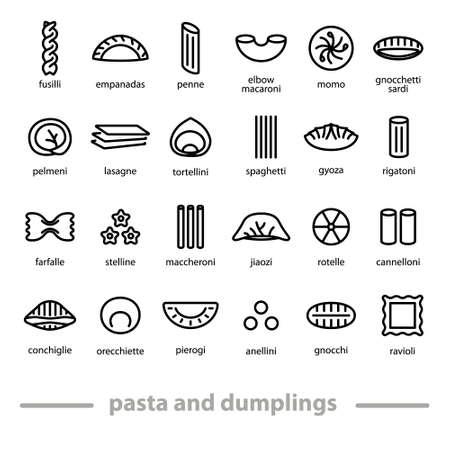 pasta y albóndigas de iconos