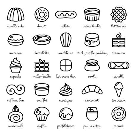 afters: line icon set of world best desserts and sweets