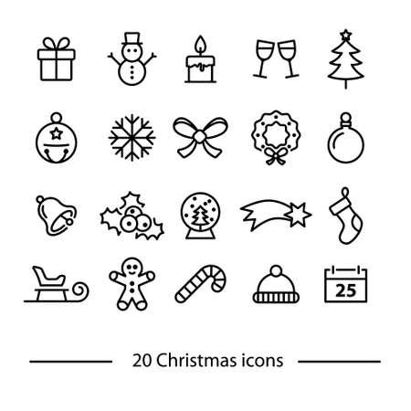 set of christmas line icons