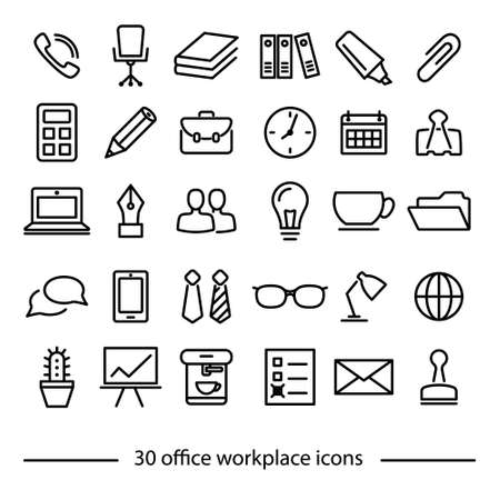 case: set of office workplace line icons