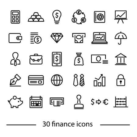 Colliction von Finanzikonen Standard-Bild - 59288046