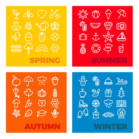 spring summer: season icons - spring, summer, autumn, winter Illustration