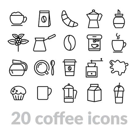 espreso: collection of coffee line icons