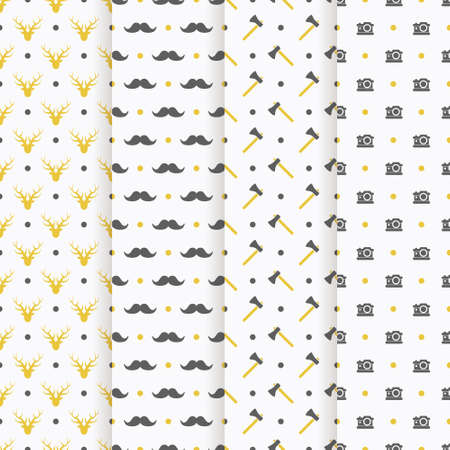camera symbol: hipster seamless pattern collection