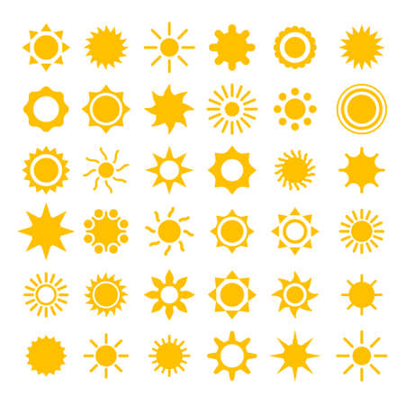 info button: vector sun icons collection