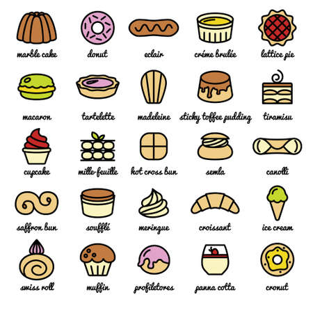 swiss roll: big line icon set of world best desserts and sweets