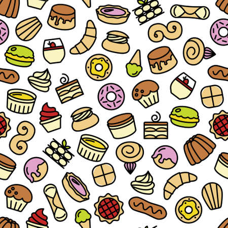 swiss roll: world best desserts and sweets seamless pattern Illustration