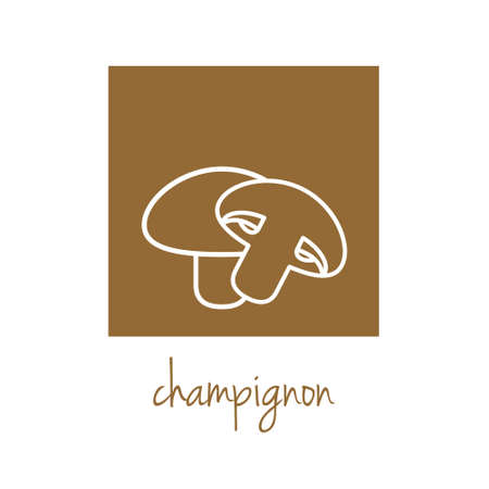 info button: champignon icon on brown square