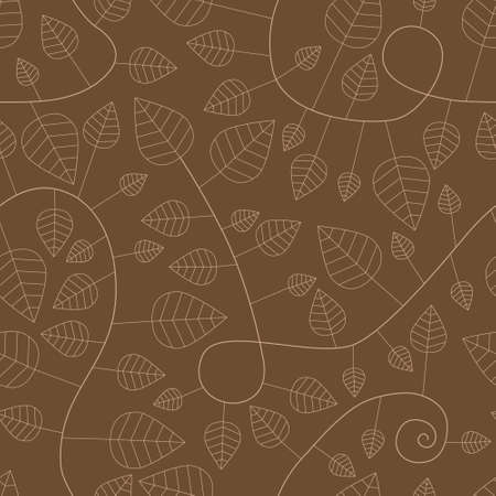 seamless pattern with leaves and curves