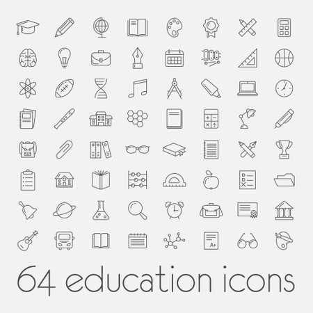 Grote reeks van onderwijs pictogrammen Stockfoto - 78993323
