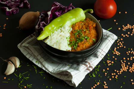 lentil dhal with rice and vegetable