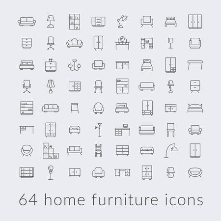 Big collection of home furniture icons. Иллюстрация