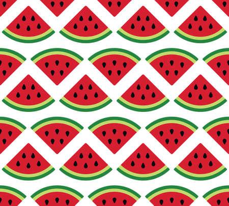Watermelon seamless pattern on white background.