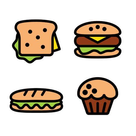 Sandwich, hamburger, baguette and muffin. Иллюстрация