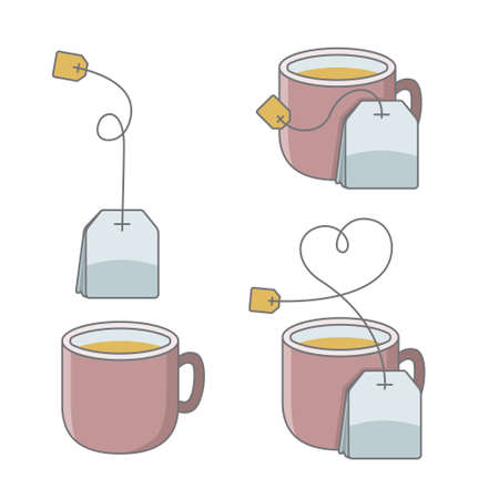 Set of cup of tea with bag.