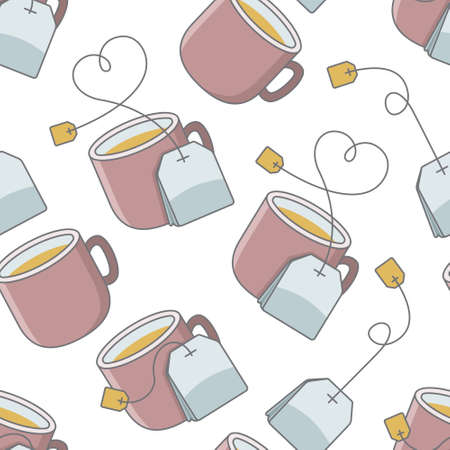 Seamless pattern with cup of tea and bag. Иллюстрация
