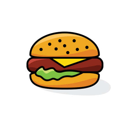 Hamburger with cheese and lettuce icon. Иллюстрация