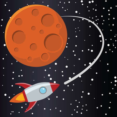 Rocket with planet in space. Иллюстрация