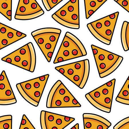 Pepperoni pizza pattern. Иллюстрация
