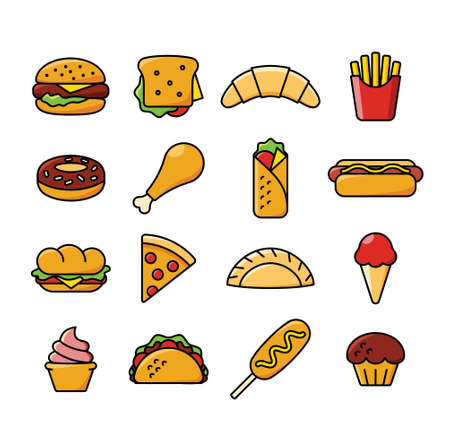 Sixteen fast food icons. Иллюстрация