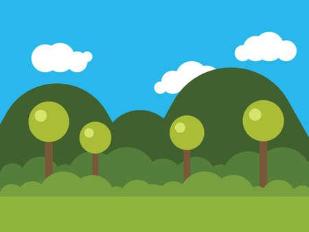 木々とマウンドを持つ自然の絵 写真素材 - 91802464