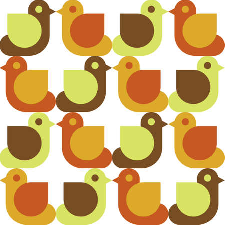 A seamless pattern with birds isolated on plain background