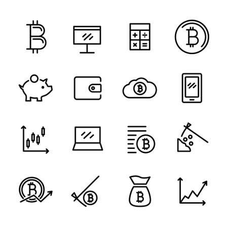 A sixteen vector bitcoin icons Иллюстрация