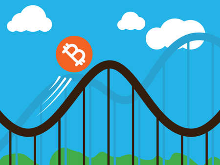 A bitcoin coin on roller-coaster