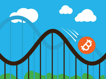 A bitcoin coin on roller-coaster