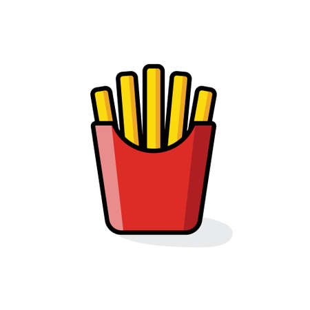 French fries color icon Illustration.