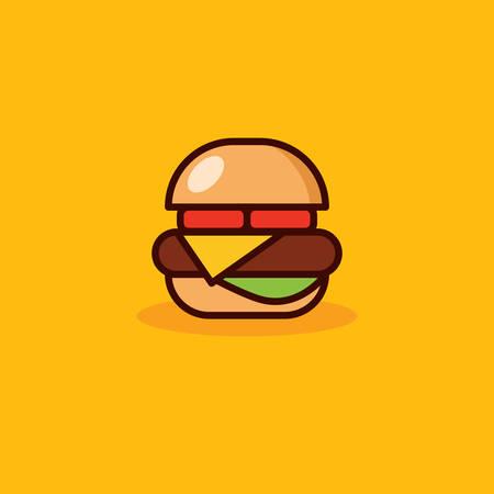A vector hamburger icon with orange background