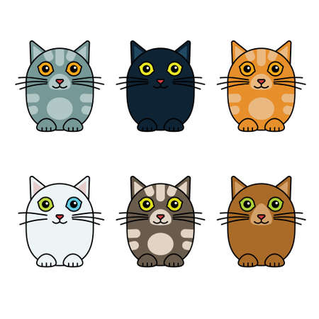 Six cute vector cats isolated on plain background Иллюстрация